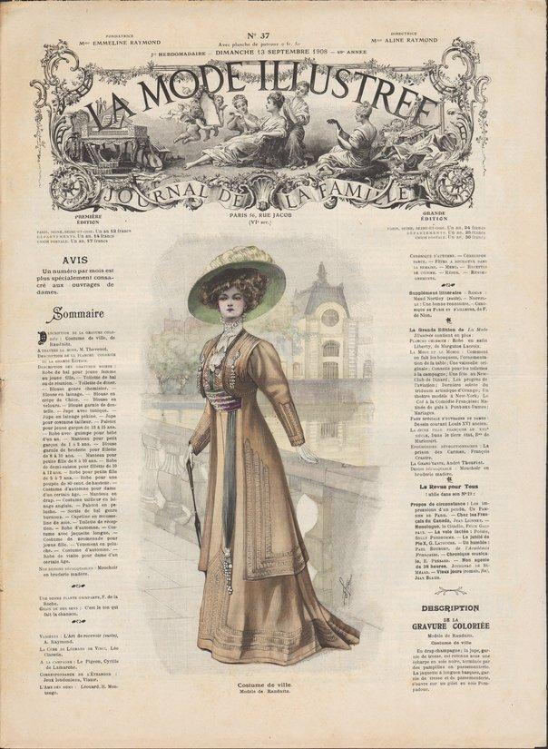 Revue de mode et patrons de couture de la mode illustrée 1908 numéro37
