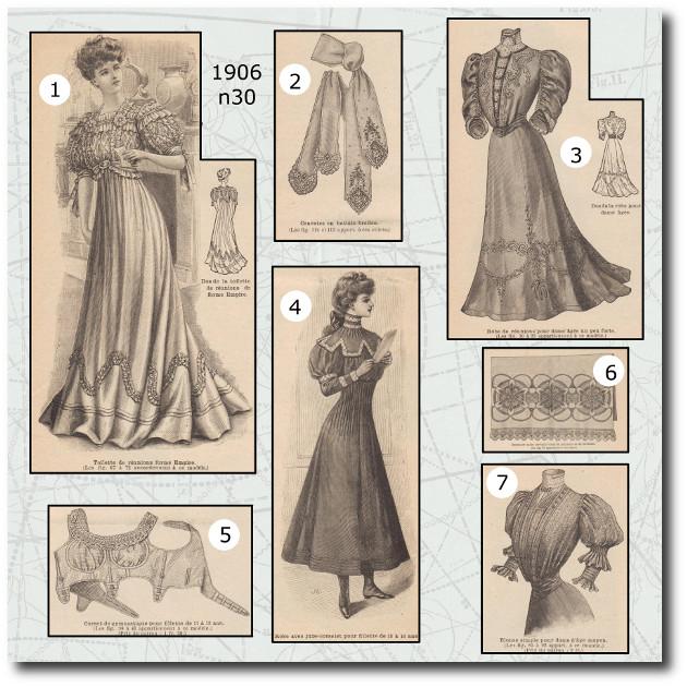 patrons de corset,robe et cravate de la mode illustrée 1906 N°30