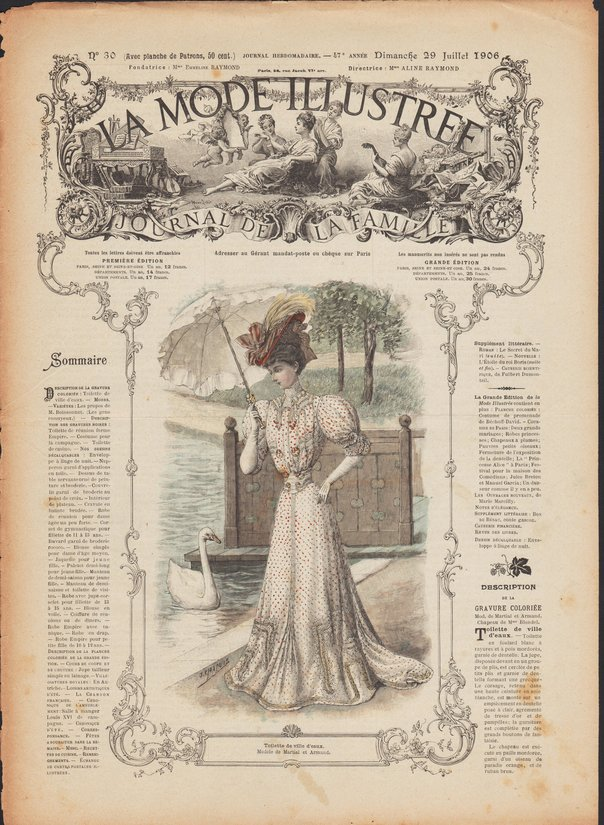 revue et patrons de corset , robe et napperon de La Mode Illustrée 1906 N°30