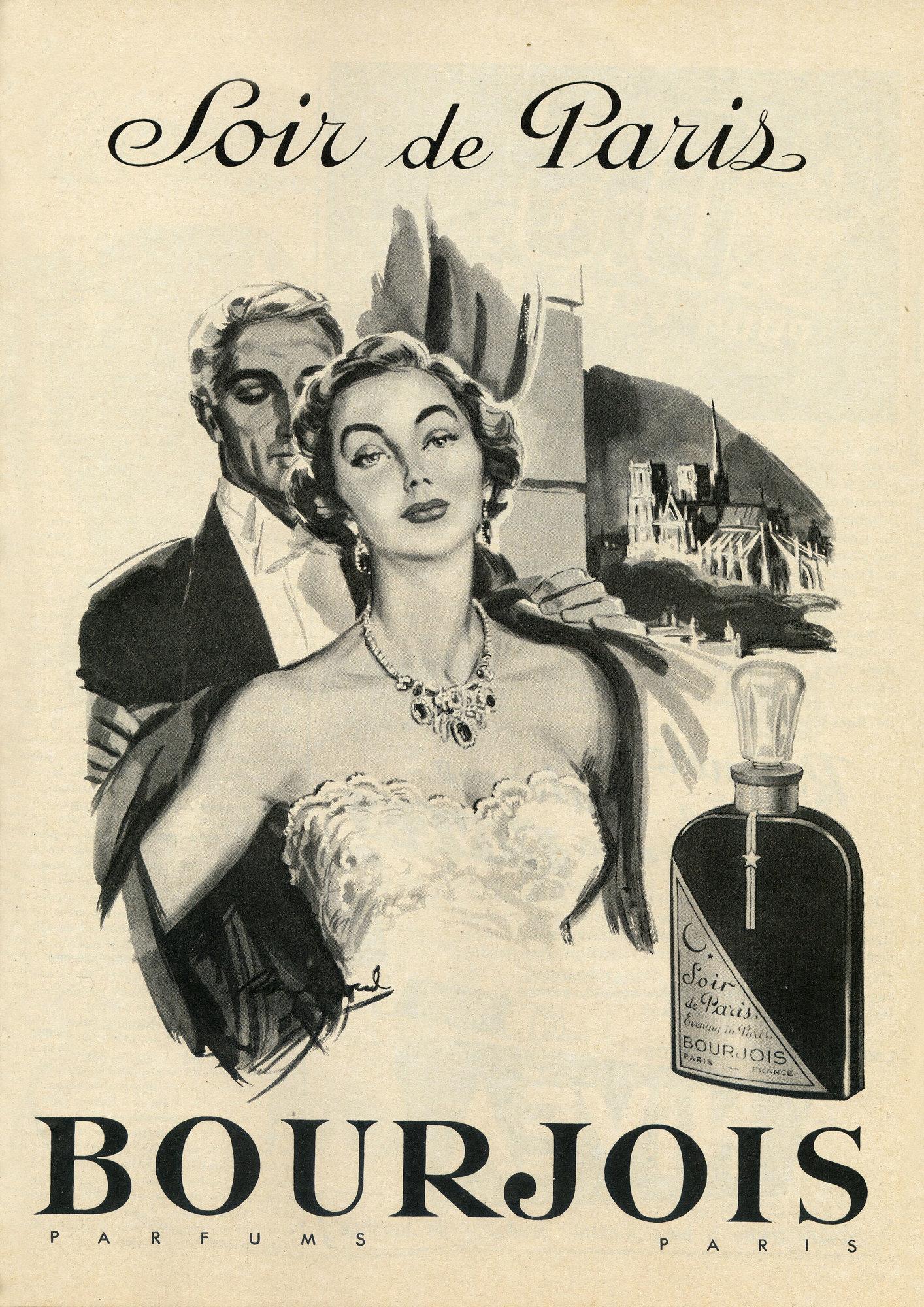 publicité parfum Bourgeois Soir de Paris 1954