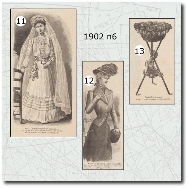 Patrons de la revue la mode illustrée 1902 n6