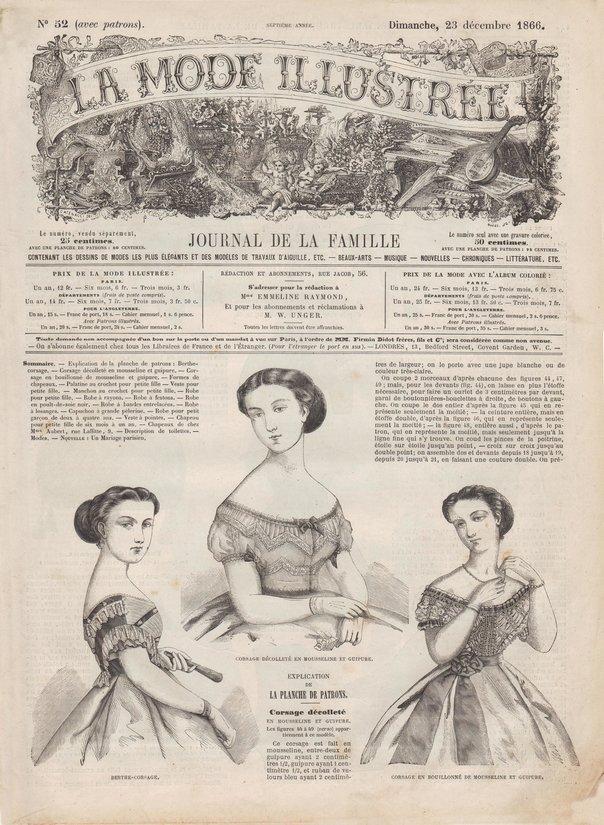 patrons de couture de la mode illustrée de 1866