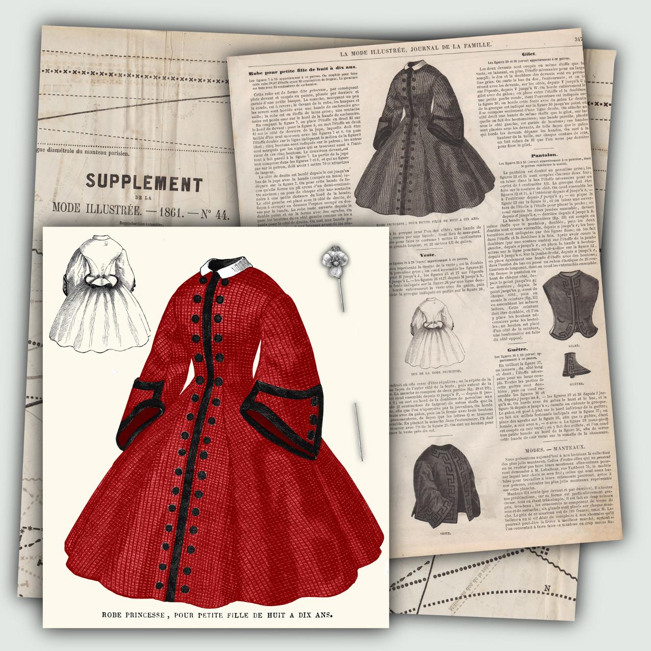 patron robe fillette 1861